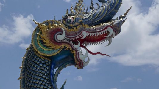 Dragon at Entrance of Blue Temple in Chiang Rai - Thailand