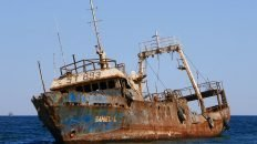 Rusted Out Sahel-L Abandoned in Shallow Water in Noaudhibou - Mauritania