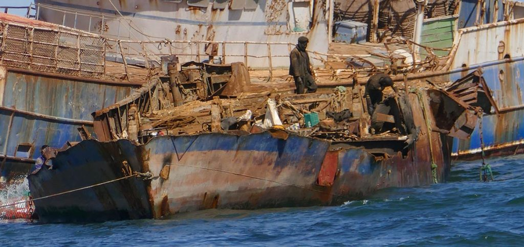 Salvage Crew - Close-up - Dismantling a Shipwreck in Noaudhibou - Mauritania