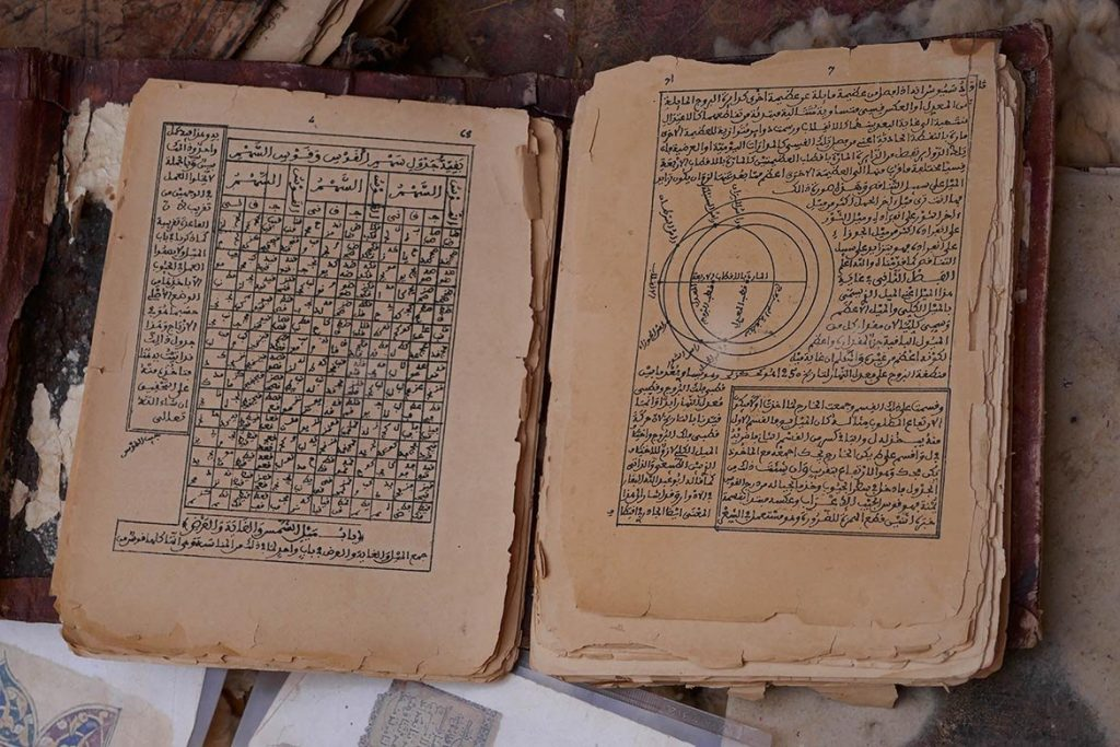 Ancient Astronomy Book in Arabic at the Old Library in Chinguetti