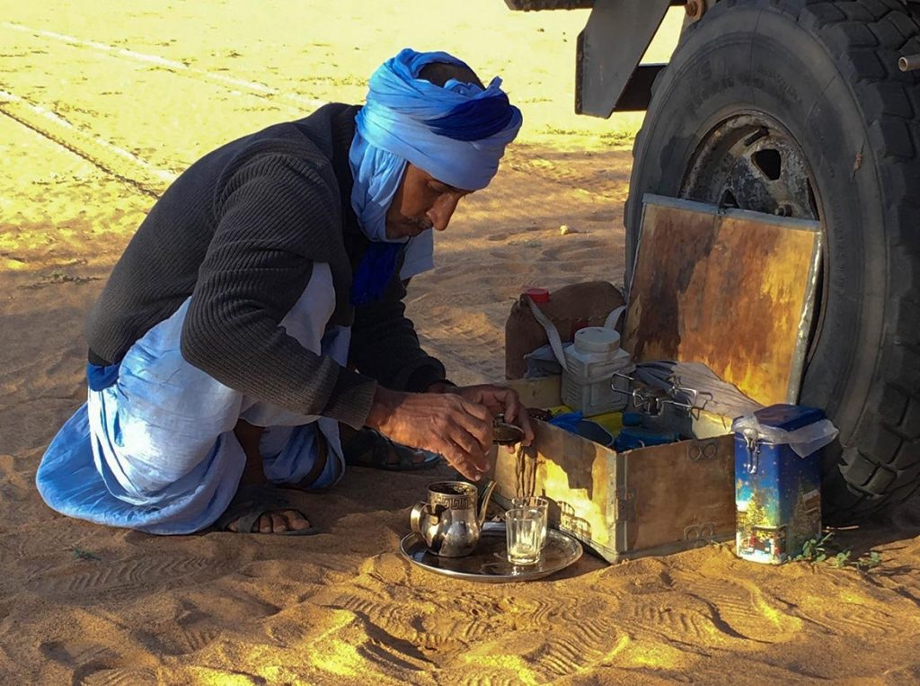 Making Tea in the Sahara During a Pit Stop Near Atar - Mauritania