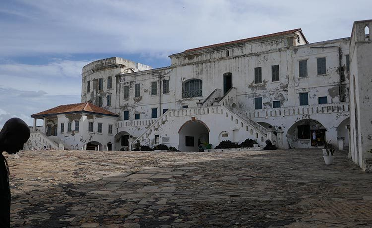 Wide shot ofCape Coast Castle from the Inside