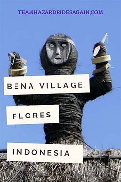 Pin for The Faces of Bena Village - image is of a rough hewn house guardian with its arms raised