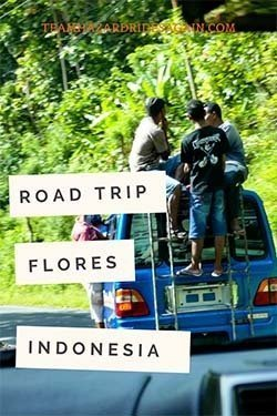 Pin for Flores - Road Trip! Indonesia - image is of small van driving with people sitting and hanging outside