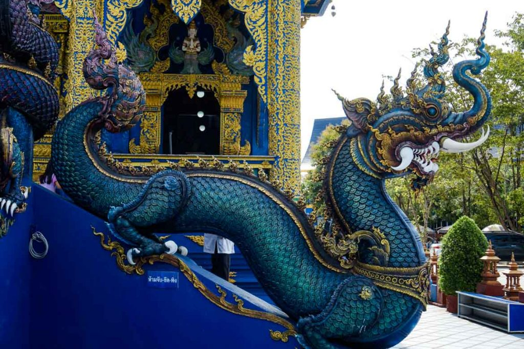Dragon sculpture at the Blue Temple in Chiang Rai, Thailand