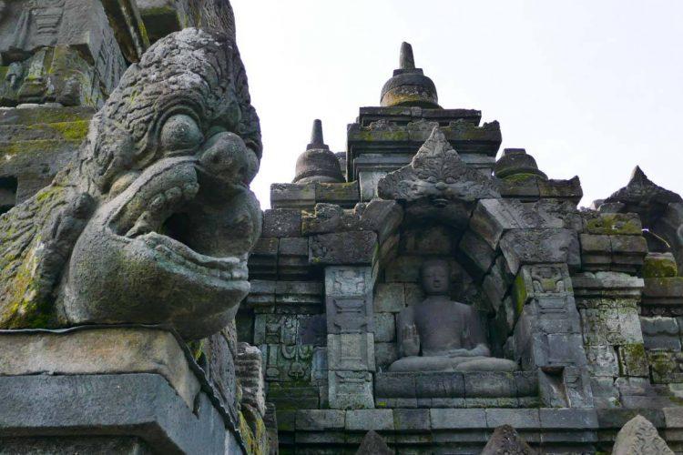 Gargoyle at Borobudur, and Ancient Temple on the Island of Java, Indonesia