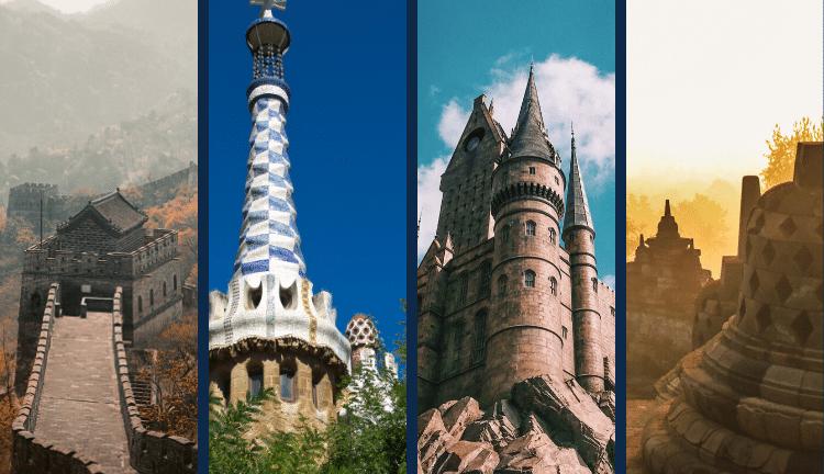 3d Virtual Tour of Tourist Destinations - Great Wall, Gaudi, Castle, Borobudur