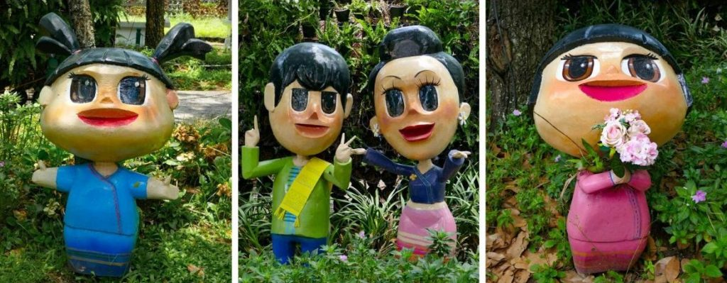 Friendly Cartoon Figures at Park in Chiang Rai, Thailand