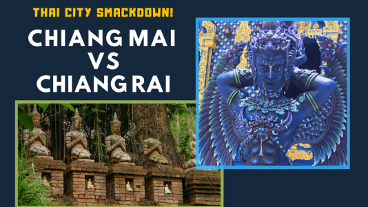 Thai City Smackdown! Chiang Mai vs Chiang Rai Cover image with temple statues.