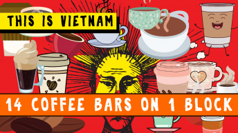 Coffee Everywhere Posted Over a Vietnamese Flag