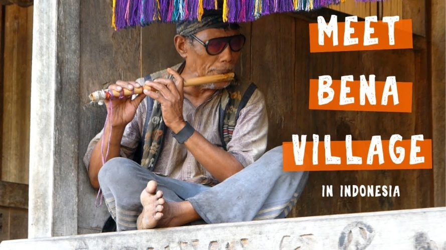 Blind Flute Player in Bena, a Traditional Weaving Village on Flores Island in Indonesia