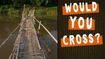 Crossing a Rickety Bamboo Bridge on the Mekong in Luang Prabang, Laos #shorts