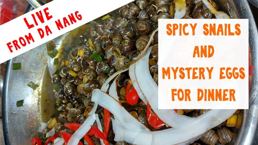 Live - Eating Spicy Snails and Mystery Eggs at Son Tra Night Market near the Fire Breathing Dragon Bridge in Da Nang, Vietnam